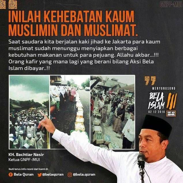 KH Bachtiar Nasir: Kafilah Jalan Kaki Ciamis Inilah Kehebatan Umat Islam!  Dari KH. Bachtiar Nasir (Ketua GNPF-MUI): Assalamualaikum afwan Saya mau sampaikan bahwa hari ini Selasa tgl 29-11-2016 sekitar jam 08.30-09.00 pagi tadi kami mendengar siaran langsung wawancara di radio Dakta dengan salah satu Kiai pimpinan Mujahid rombongan yang berjalan kaki menuju Jakarta dalam aksi membela Islam. Beberapa pernyataan yang saya catat dari pernyataan pimpinan rombongan tsb dalam membela Islam…