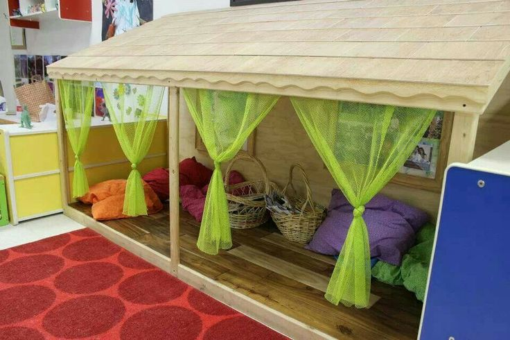 """Safe and open """"hut"""" area for children to rest of of the sun, read, play house, or relax."""