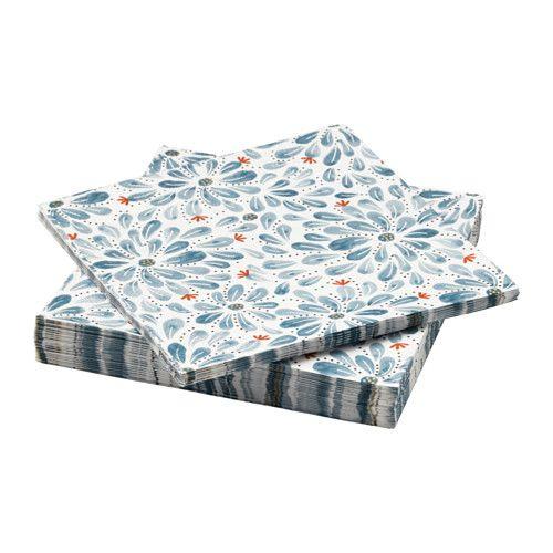 FINSTILT Paper napkin, blue, flowers