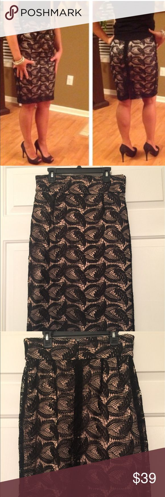 Antonio Melanie black lace with beige pencil skirt Very sophisticated and classy laced pencil skirt. Basically brand new!! ANTONIO MELANI Skirts Pencil