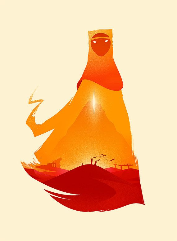 This unique high quality print is inspired by the conceptual and visual beauty of Journey, one of my all-time favorite games.  Large prints are 17 x