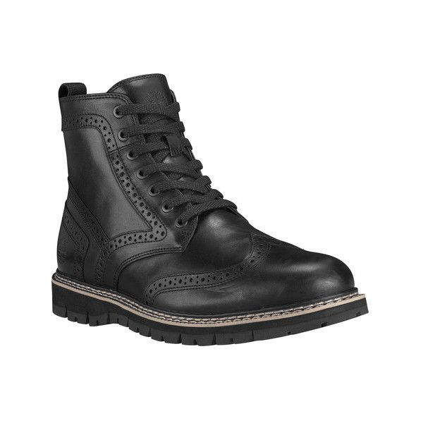 Men's Timberland Britton Hill Wing Tip Boot ($180) ❤ liked on Polyvore featuring men's fashion, men's shoes, men's boots, ankle boots, black, mens wingtip shoes, mens short boots, timberland mens boots, mens boots and mens long boots