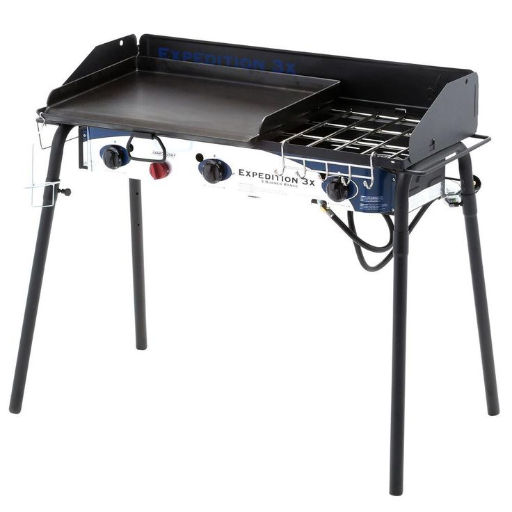Camp Chef Expedition 3X 3-Burner Propane Gas Grill in Black with Griddle, Silver And Blue