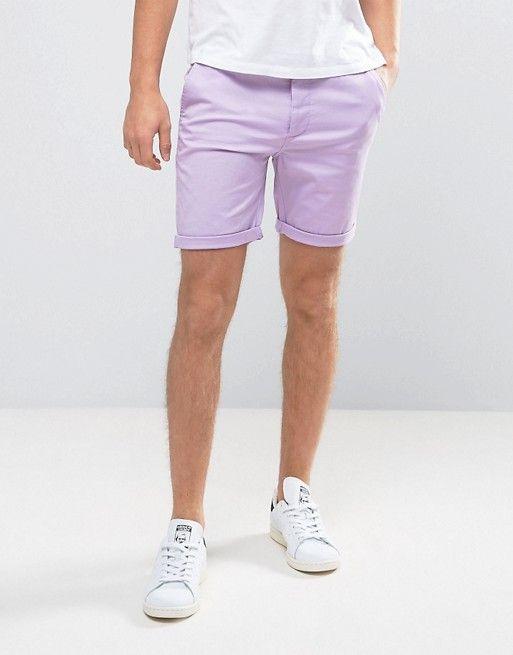 ASOS Slim Chino Shorts In Light Purple