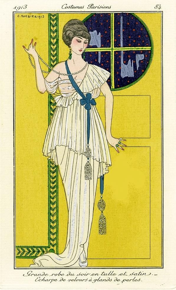 BARBIER one of the great French illustrators of the early 20th century  1913  | FRENCH: Grande robe du soir en tulle et satin echarpe de velours a glands de perles; ENGLISH: Large/great evening dress in tulle and satin; scarf/sash of velvet has acorns of pearls/a tassel of beads