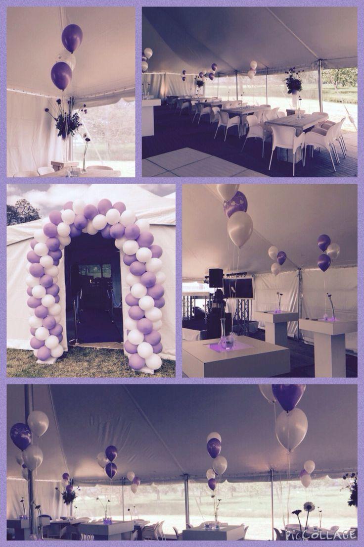 Bruiloft in kleurenthema wit en lavendel paars. Wedding in collortheme white and lavender purple.
