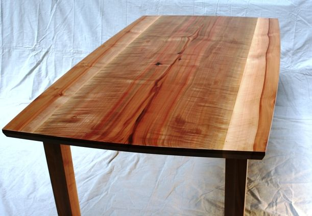 Madrone dining table bookmatched highly figured madrone for Really cool dining tables