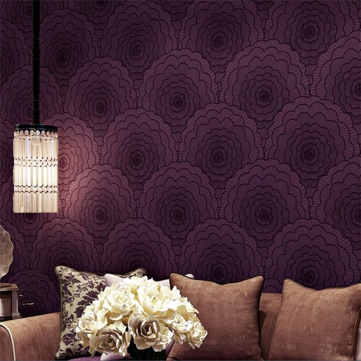 (44.88$) Watch Here   Pleasant Purple Wallpaper Modern Simple Bedroom Living  Room TV Background Papel De Parede Large Flower Non   Woven Wall Papu2026