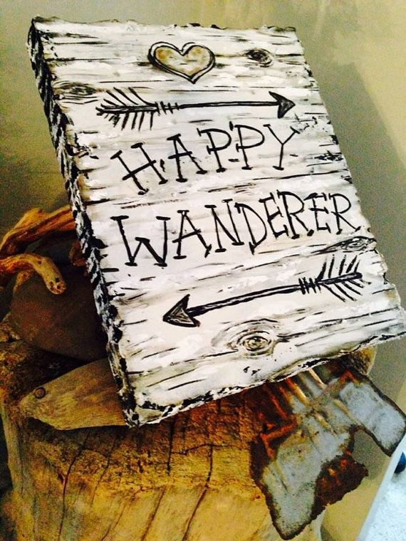Happy Wanderer Birch Bark Plaque Lake Lodge Cabin Decor #outdoors