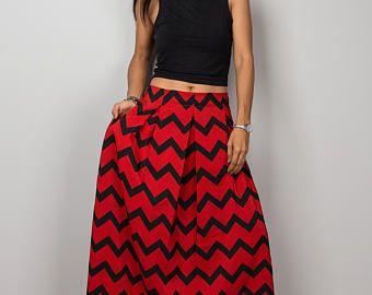 Maxi jupe, jupe Chevron, rouge et noir de la jupe, jupe de longueur de plancher, la jupe des femmes, jupe plissée, jupe taille haute: sentir bon n ° 3