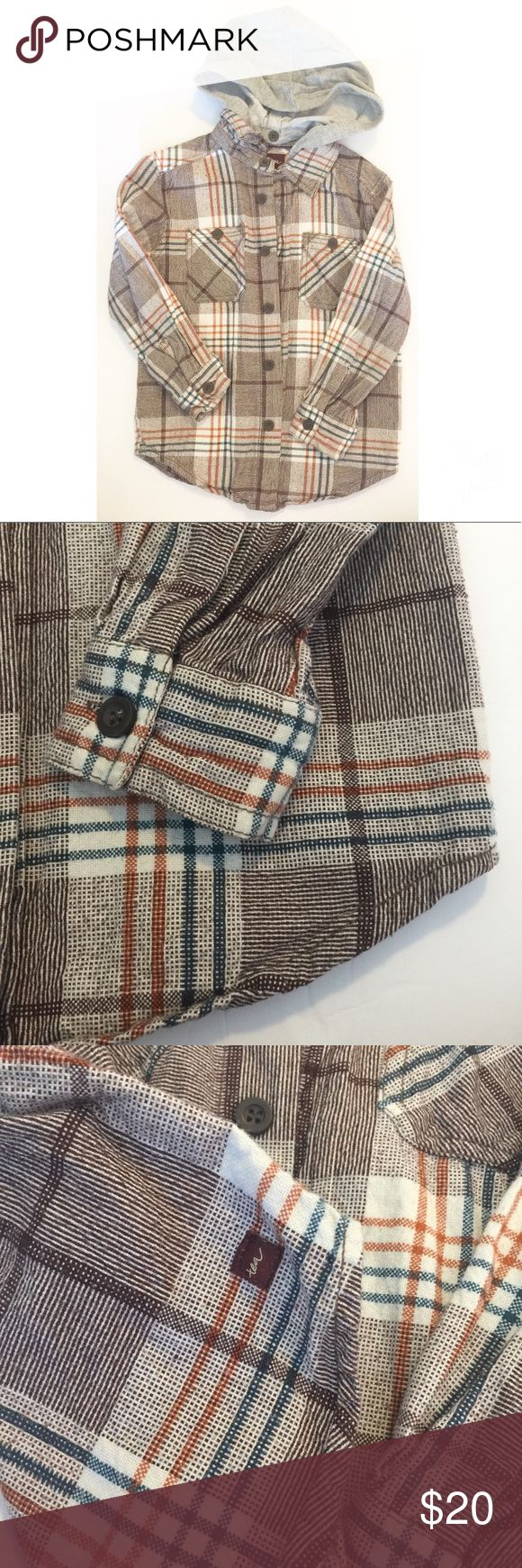 Tea Collection hooded flannel Excellent condition plaid button down flannel shirt with jersey hood option to remove we used for pictures always hung dry Tea Collection Shirts & Tops Button Down Shirts