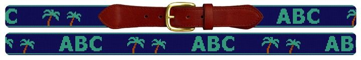 Customized Twin Palms Needlepoint Belt