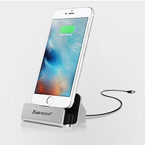 iPhone Charger Dock,Sokaton® iphone Desk Charger,iphone Desktop Charging cable,iphone charging station compatible with Ipod and Iphone 5/5s/5c/6/ 6s/6 Plus/6s Plus.(Silvery)