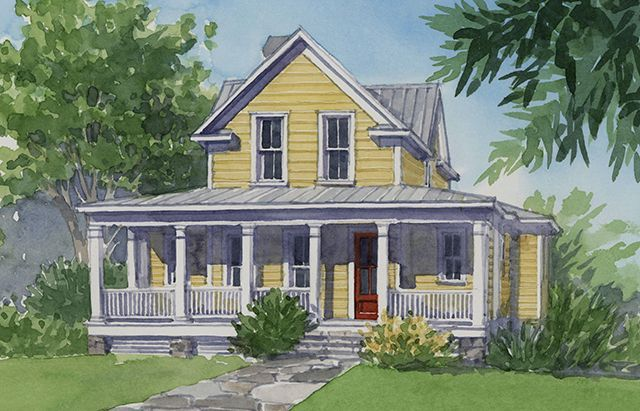 Front Elevation Of Farm Houses : Front elevation rendering house plans pinterest