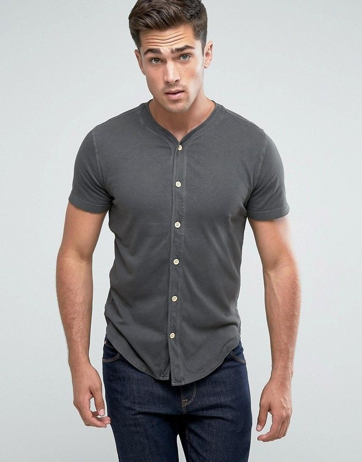Abercrombie & Fitch Baseball T-Shirt Muscle Slim Fit Button Through