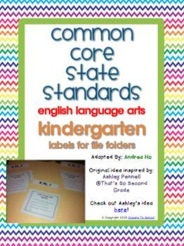 COMMON CORE ENGLISH LANGUAGE ARTS FILE FOLDER LABELS (KINDERGARTEN) - TeachersPayTeachers.com
