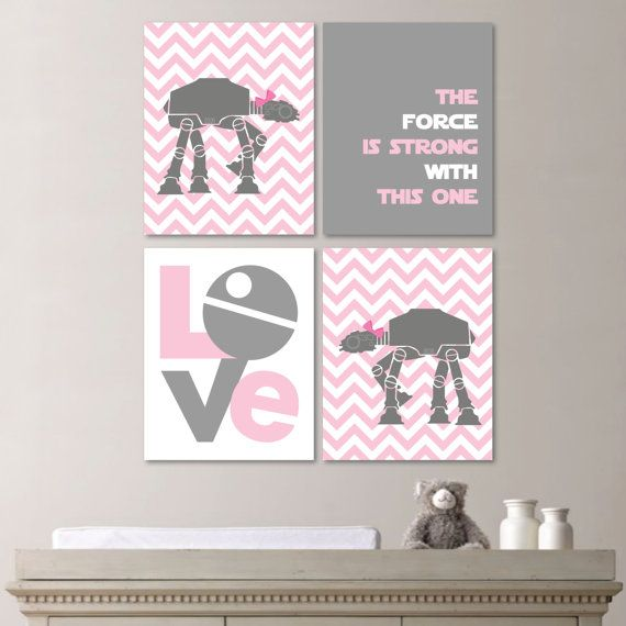 If I were to be a) a girly girl who loved pastel pink, or b) were having a little girl...Neither of which, I am.  lol  This would SO bed the theme of the bedroom.  Totally freaking adorbs!!  Star Wars Girl Quad - Baby. Decor. Nursery. Girl - You Pick the Size (NS-125)