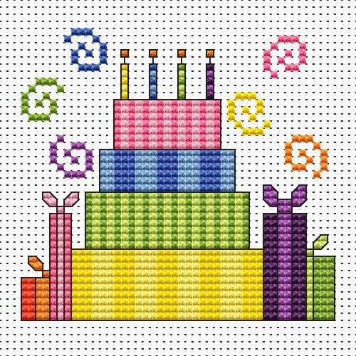 Striped Cake card cross stitch kit kit by Fat Cat Cross Stitch.  Design 7.9cm x 7.4cm 14 count white Aida The kit contains fabric, stranded Anchor embroidery threads, needle, easy to follow instructions and chart, card and envelope.  A brand new kit will be sent directly to you by Fat Cat Cross Stitch - usually within 2-4 working days © Fat Cat Cross Stitch