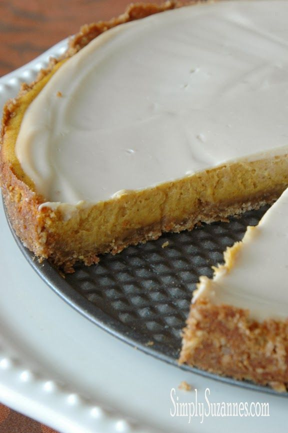 Simply Suzanne's AT HOME: pumpkin cheesecake with a sweet sour cream topping