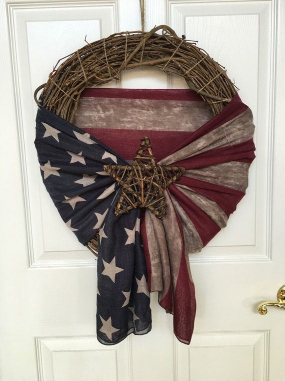 Rustic fourth of july wreath with american flag scarf and twig star - grapevine wreath