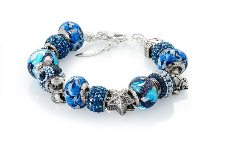 Amore & Baci blue beaded bracelet #fashion #silver #jewelry #bracelet #beads #sea #swarovski #murano
