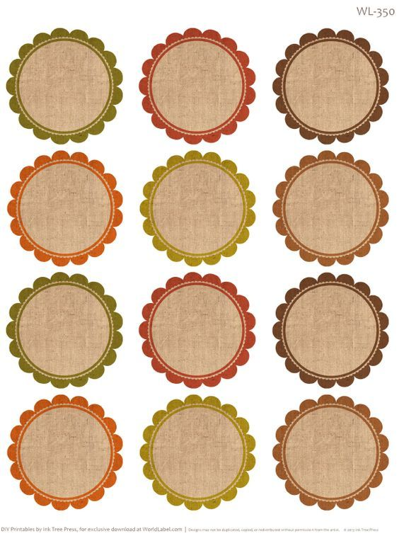 Round labels with an Autumn feel. Free Printables by @Erin B Rippy - Ink Tree Press: