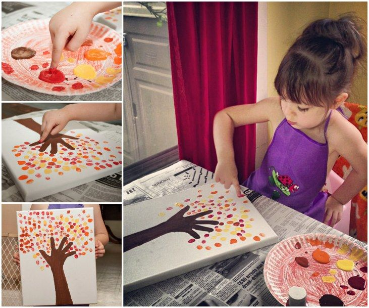 Fingerprint Tree Painting. We fell in love with this fabulous idea and you will too.  Get the kids to trace their arms onto canvas or paper and then add fingerprints for leaves on the trees.  Don't stop at one, you can have a family gallery wall. Tutorial via 'From Ashley To Awesome'