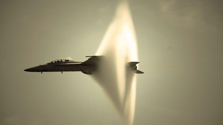 F-18 Advanced Super Hornet. Through the sound barrier