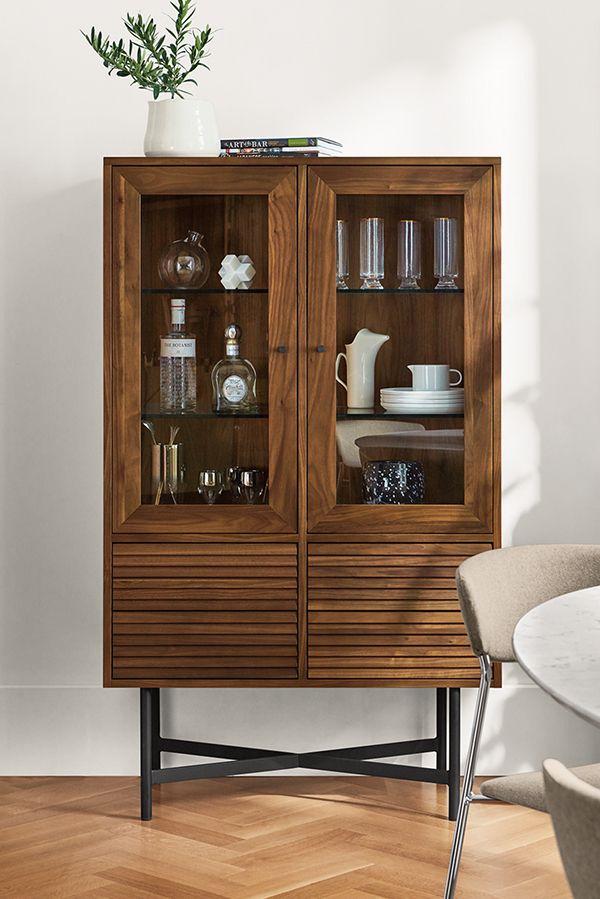 Adrian Glass Door Cabinet Modern Bar Cabinets Carts Modern Living Room Furniture Room Board Glass Cabinet Doors Storage Cabinets Cabinet Decor #tall #living #room #storage #cabinets #with #doors