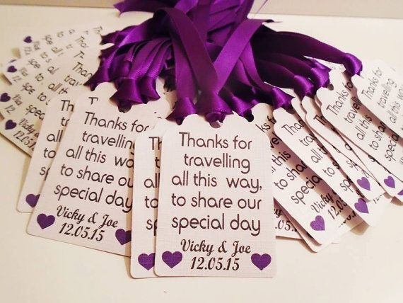 x10 Personalised favour/meal/destination wedding tags with