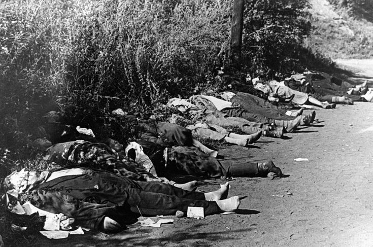 German troops marching into the city of Bromberg (the German name for the Polish city of Bydgoszcz) found several hundred German nationals dead from Polish sniper fire. The snipers were equipped with arms by the retreating Polish forces. Bodies are shown on a forest road, September 8, 1939.