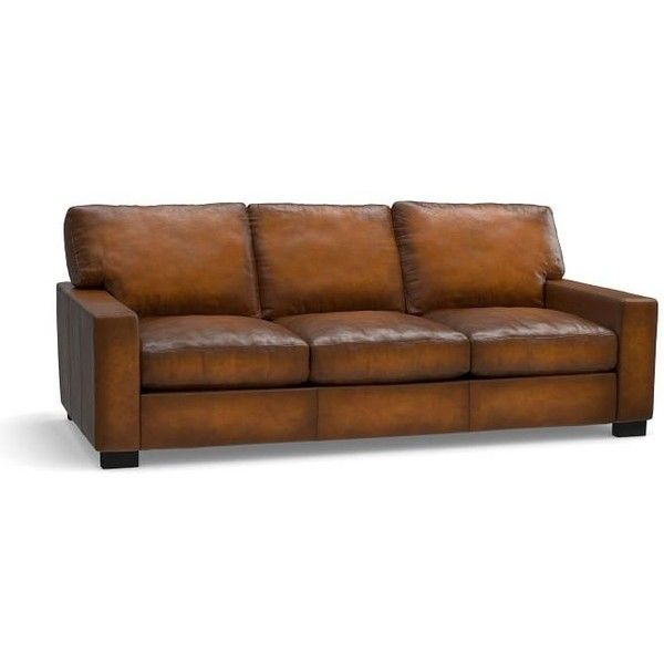 Pottery Barn Turner Square Arm Leather Sleeper Sofa ($2,969) ❤ Liked On  Polyvore Featuring Part 72