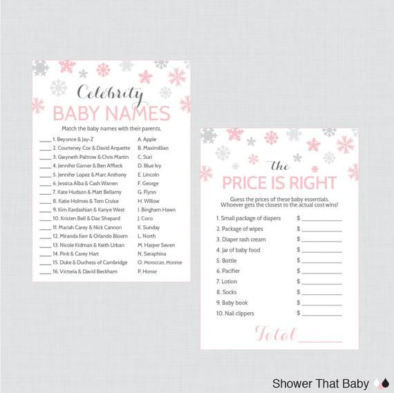 Winter Wonderland Baby Shower Games Package With Seven Printable
