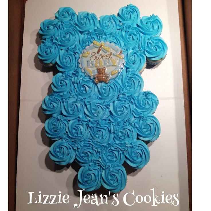 Onesie Cupcake Cake for Boy Baby Shower