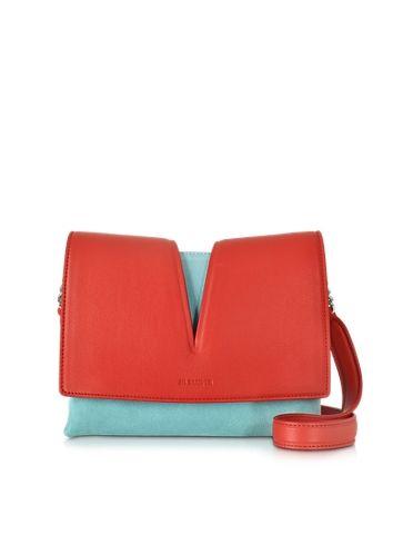 Jil+Sander+View+Small+Red+Leather+&+Sky+Blue+Velvet+Shoulder+Bag