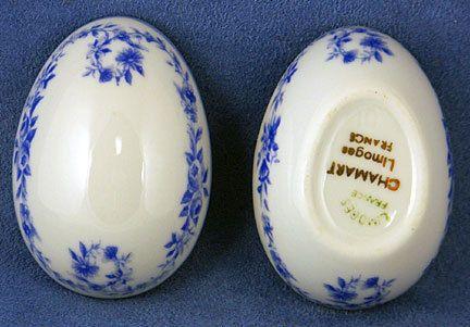 Vintage Limoges Blue Garland Small Egg Trinket Box