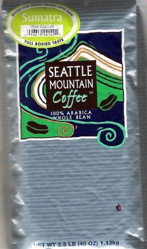 Seattle Mountain Full Bodied Taste Sumatra Coffee Beans 2.5lbs - http://www.teacoffeestore.com/seattle-mountain-full-bodied-taste-sumatra-coffee-beans-2-5lbs/