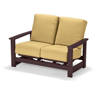 Telescope Casual Leeward Deep Loveseat with Cushions Finish: Textured Beachwood, Fabric: Stone Linen