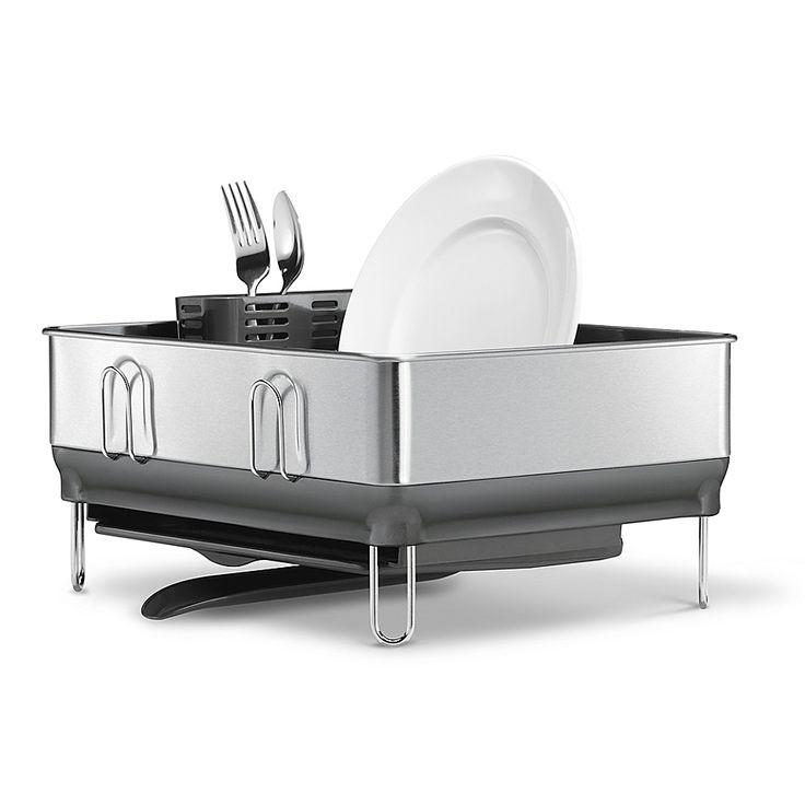 Simplehuman compact steel frame dish rack in grey