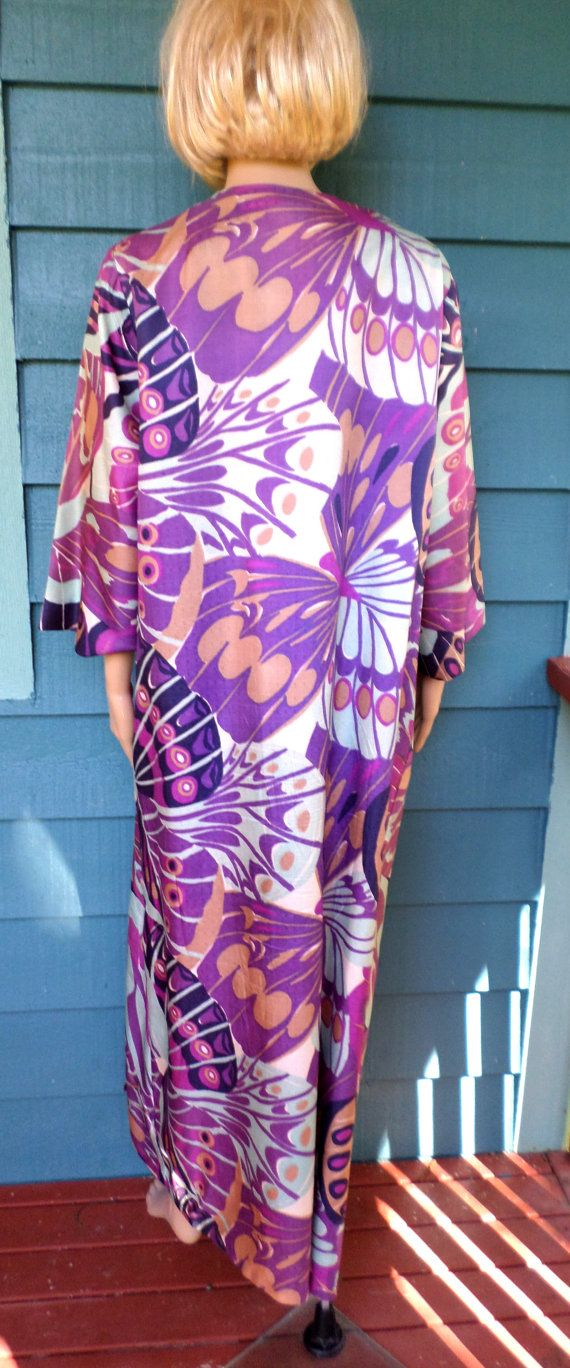 Vintage 1960's Mod/ Boho Psychedelic Silk Shantung Lounging Kaftan/Duster Nordstrom's Best/ Peacock Print  One Size Fits Most/ Drag Queen