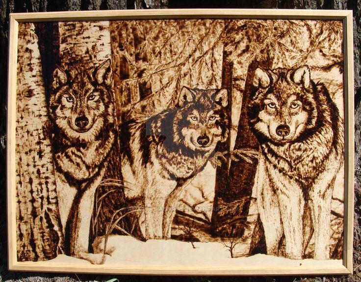 Woodburning - Wolves by AnastasiasArts