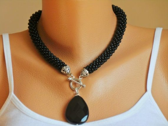 Onyx necklace,black big seed beads crocheted necklace, crocheted necklace, gift necklace, onyx natural stone necklace: