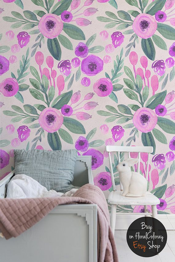 Fluorescent Fl Removable Wallpaper Pink And Purple Watercolor Flowers Pattern Spring Design Temporary 169