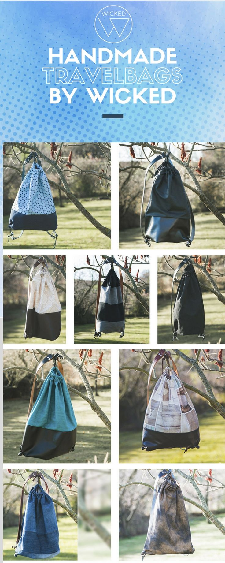 Travelbags by Wicked - Unsere Turnsack ähnlichen Rucksäcke werden in vielen verschiedenen Varianten gefertigt. Jeder Travelbag ist ein Unikat und wird von uns selbst hergestellt. Die Lederriemen verleihen den Rucksäcken ein angenehmes Tragegefühl und sehen auch super schick aus.