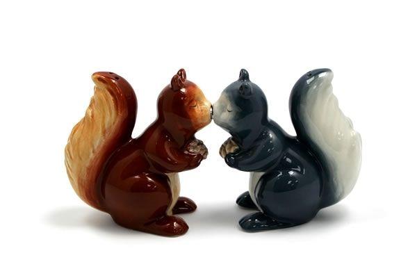 Tabletop items: Kissing Squirrels - Salt & Pepper Shakers