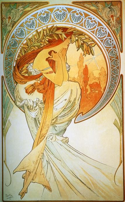 """Poetry - From The """"Arts: Series - Color lithograph - Alphonse Mucha - c. 1898"""