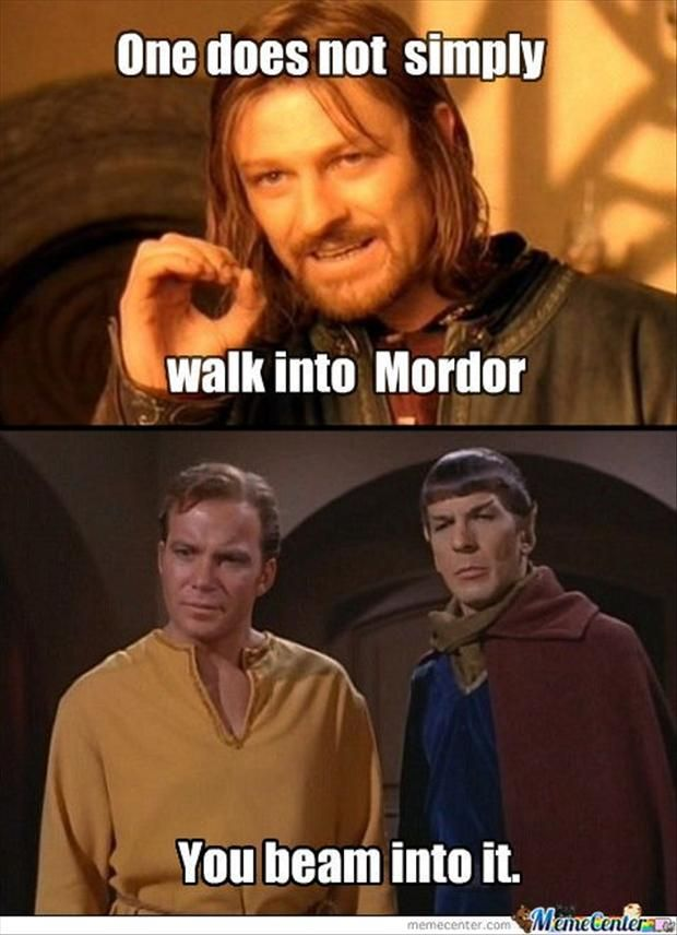 Oh goodness, there are three fandoms in this post: LOTR, Trekkies, and Kirk and Spock just happen to be outfits which remind me of Arthur and Merlin!!! Aahh!