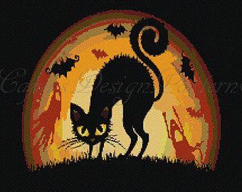 BLACK CAT Halloween Peyote (2 Drop)- Bead Pattern,Tapestry,Wall Hanging, Home Decor