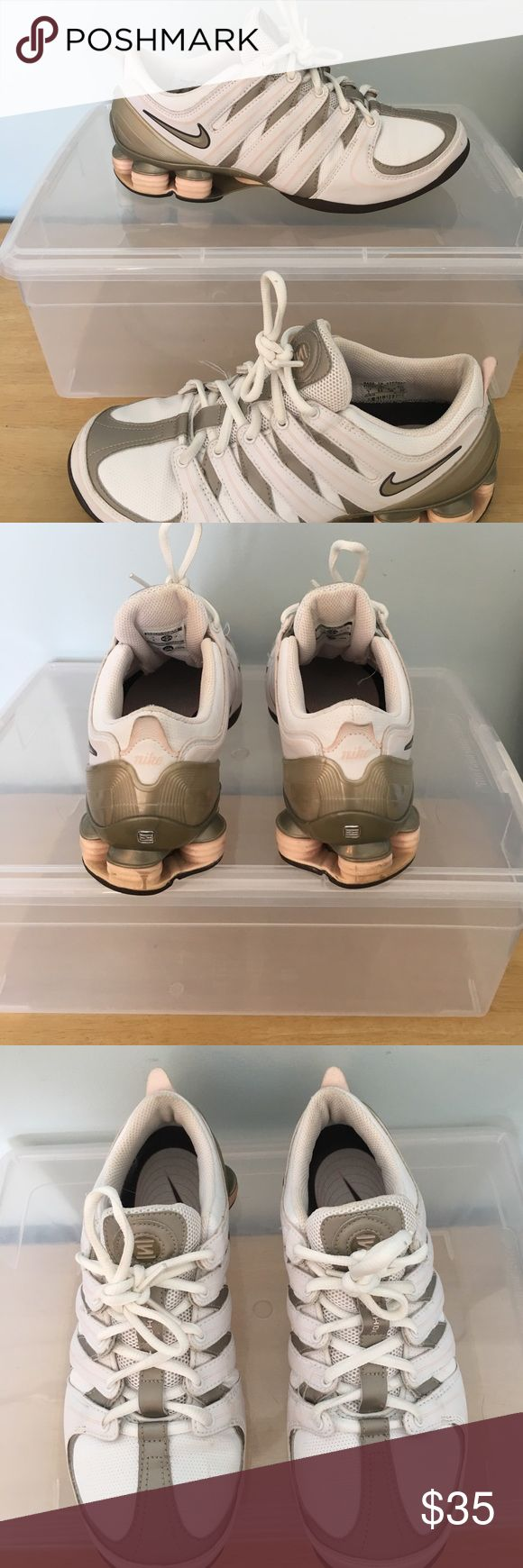 Nike sneakers Pink, white, brown and taupe like color Nike shox. Women's size 7 minimal signs of wear no box non-smoking home Nike Shoes Sneakers