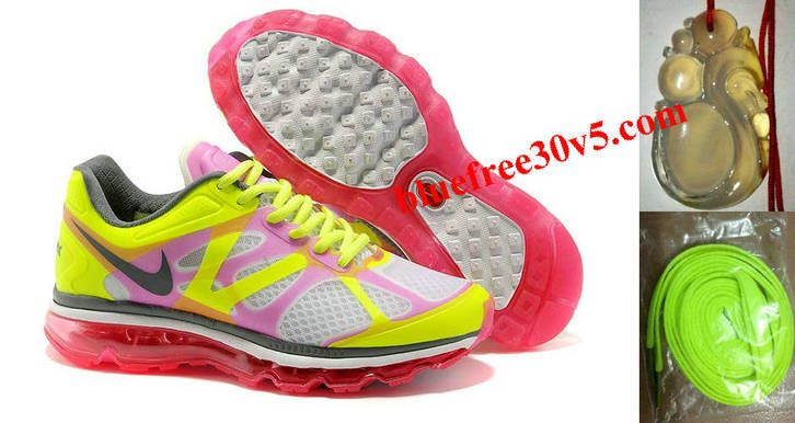 Womens Nike Air Max 2012 White Hot Pink Hot Lime Dark Grey Shoes